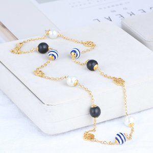 Tory Burch Striped Multicolor Pearl Logo Necklace